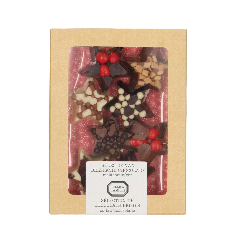 Dille&Kamille Etoiles de Noël, assortiment de 8 chocolats, 135 g
