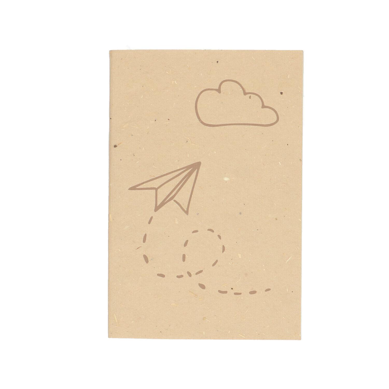 dille&kamille carnet de notes, papier bouse, naturel,à motif d'avion, 15,5 x 10,5 cm