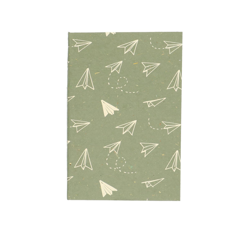 dille&kamille carnet de notes, papier bouse, vert,à motif d'avions, 15,5 x 10,5 cm