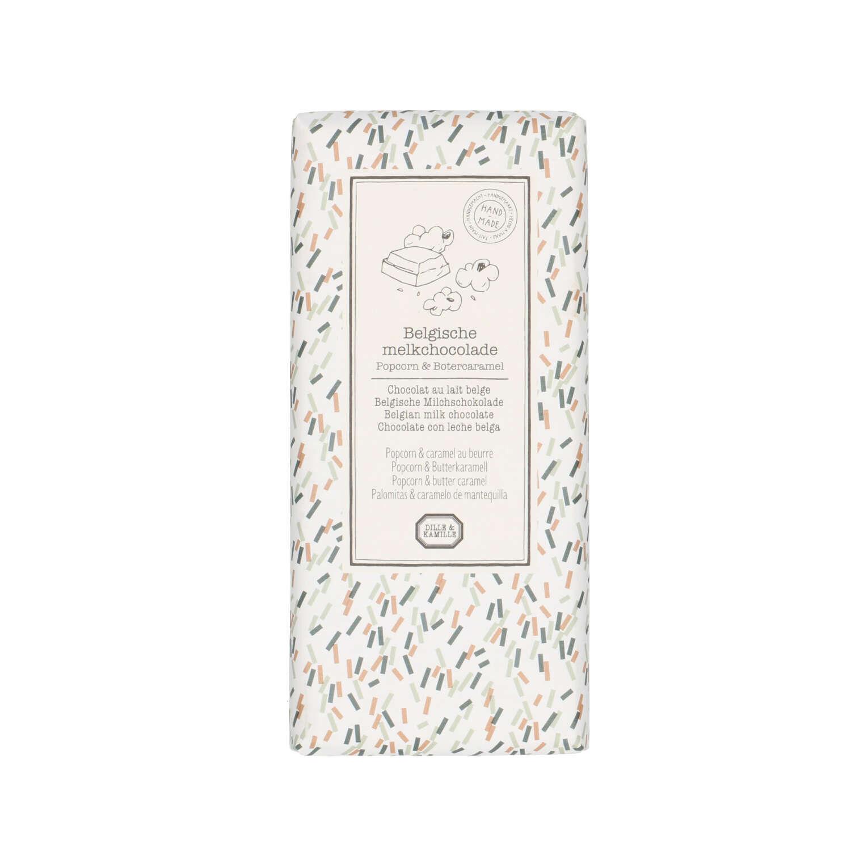 Dille&Kamille Tablette de chocolat au lait, popcorn&caramel au beurre, 130 g