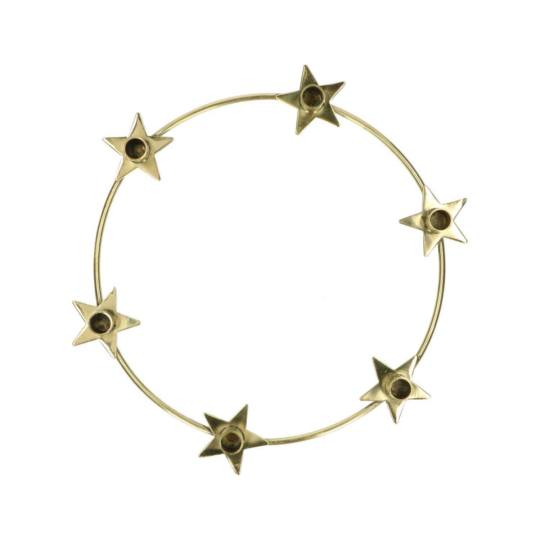 Dille&Kamille Bougeoir, anneau+étoiles, laiton, Ø 23,5 cm