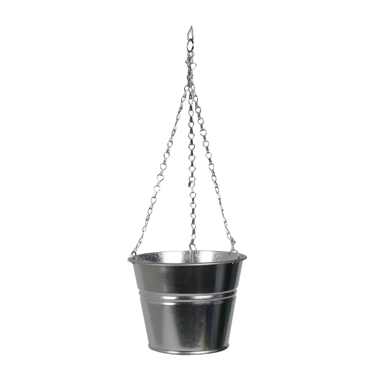 Dille&Kamille Pot de fleur avec chaîne de suspension, zinc, naturel, Ø 16 cm