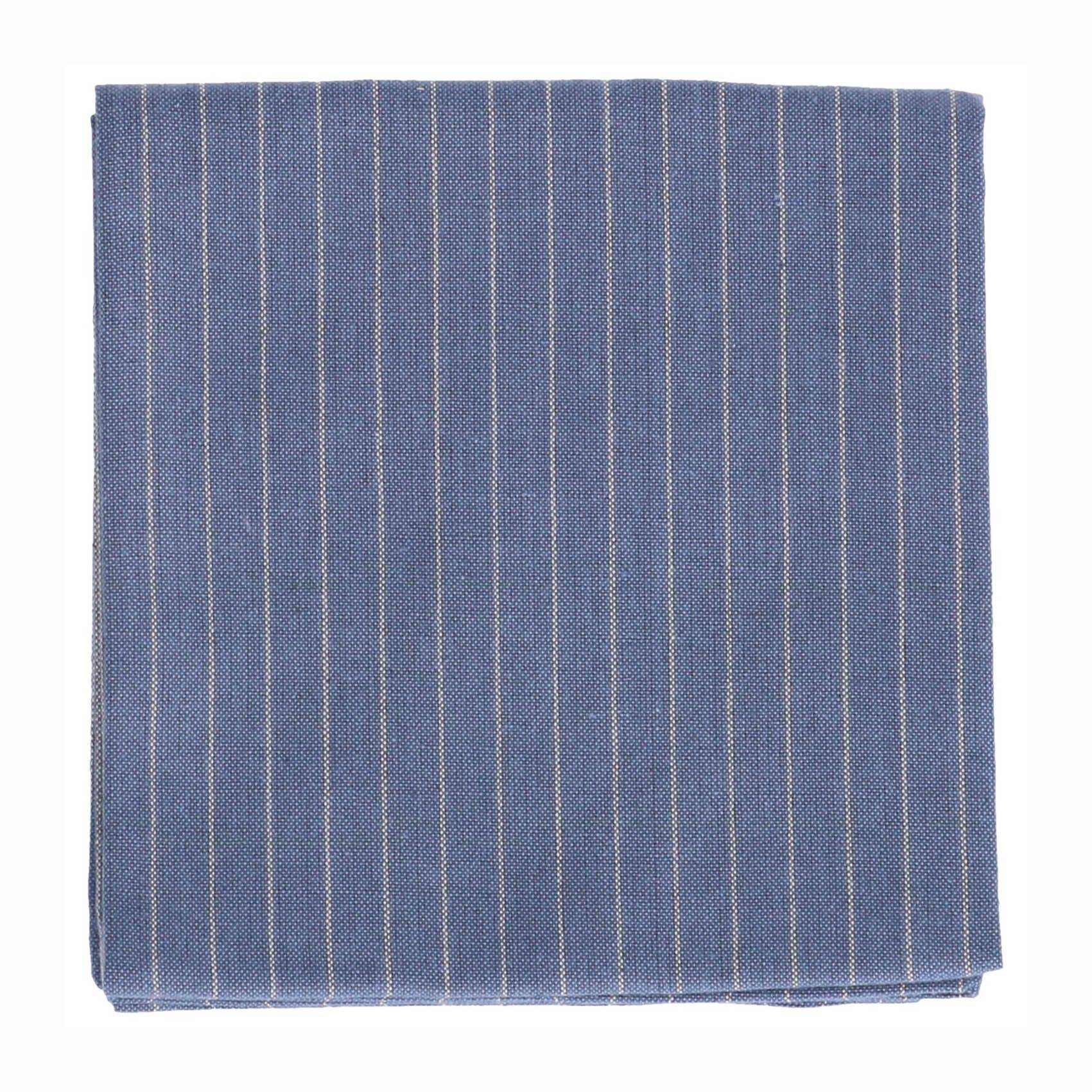Dille&Kamille Torchon, coton bio, bleu denim, rayures, 50x70 cm