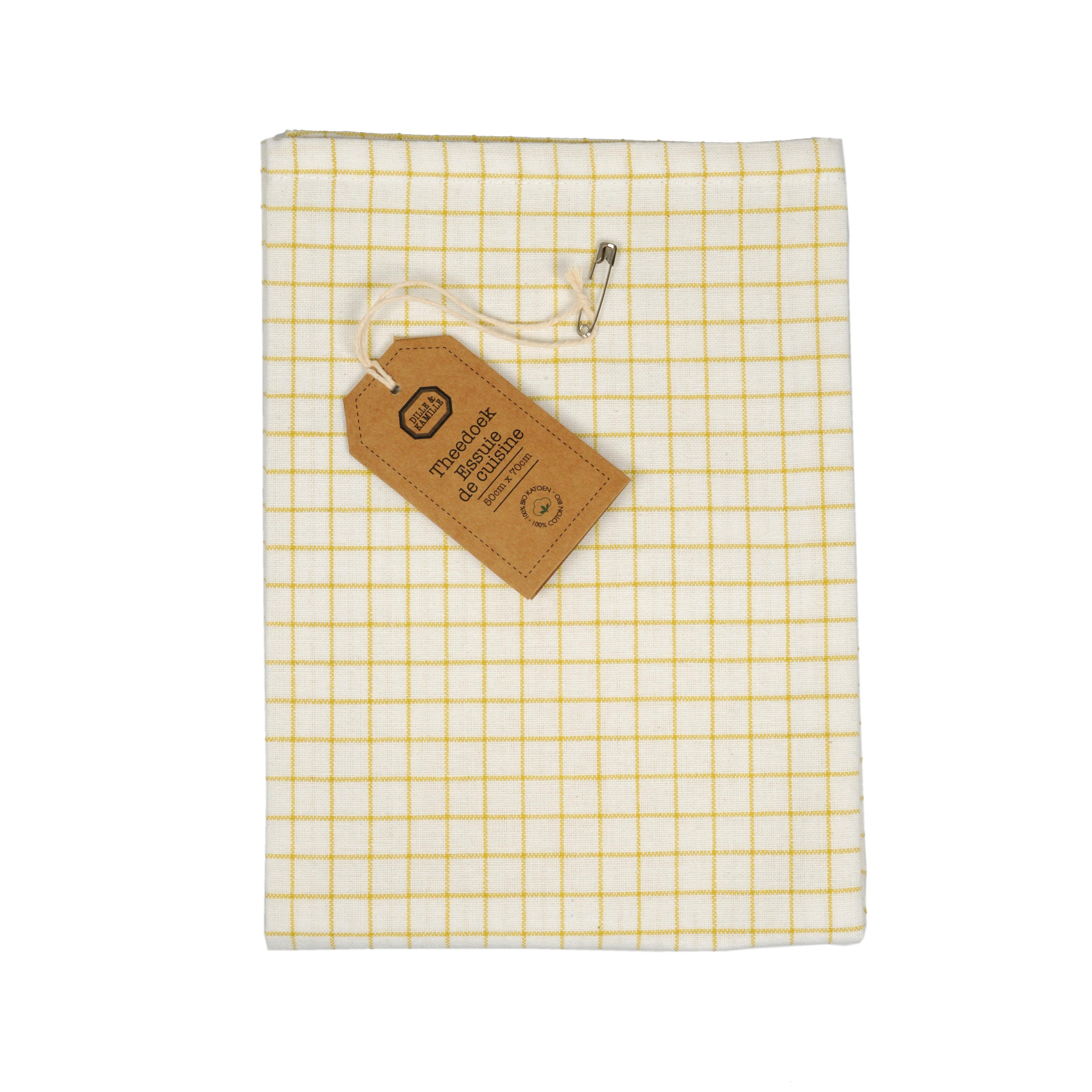 Dille&Kamille Torchon, coton bio, jaune clairà carreaux, 50 x 70 cm