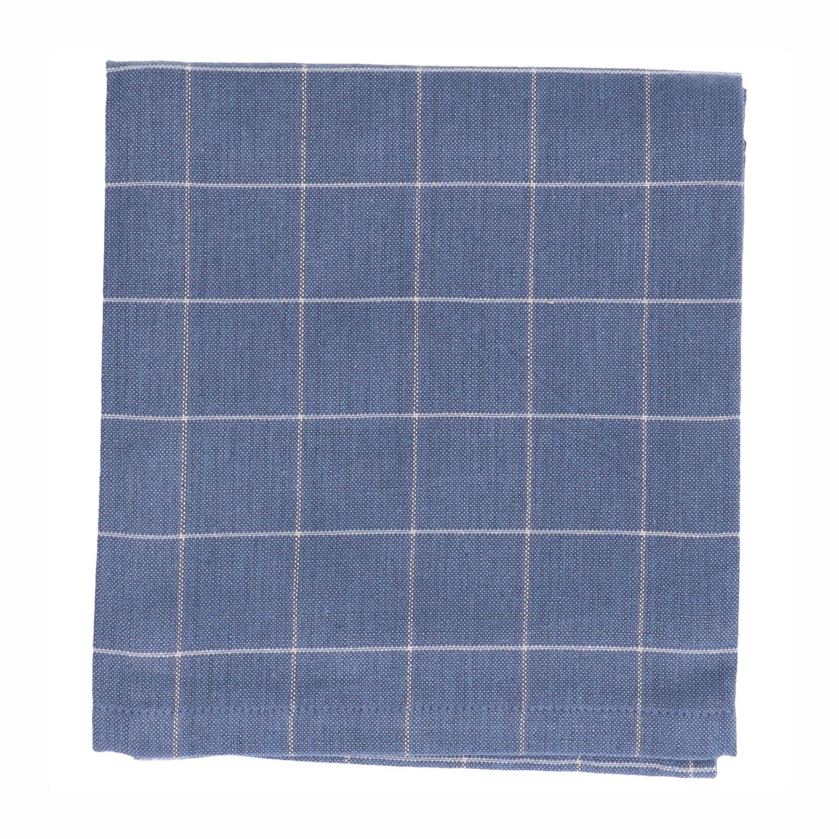 Dille&Kamille Torchon, coton bio, bleu denim carreaux, 50 x 70 cm