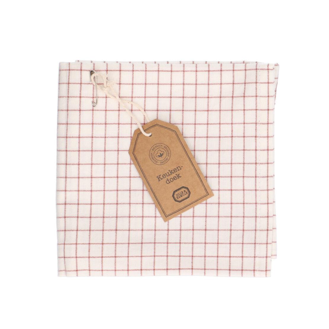 Dille&Kamille Torchon, coton bio, vieux rose,à carreaux, 50 x 70 cm