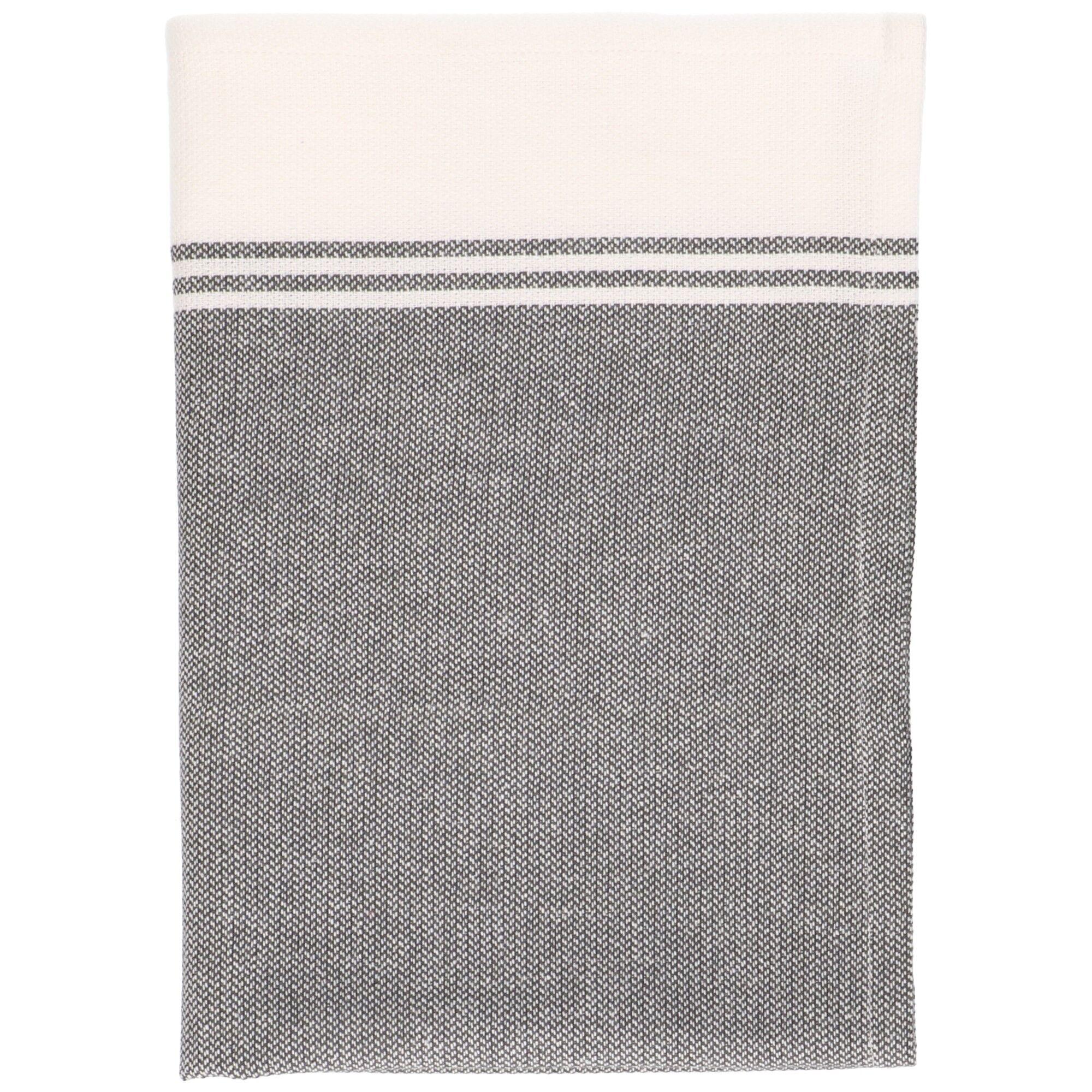 Dille&Kamille Torchon, coton bio, anthracite/blanc chiné, 50 x 70 cm