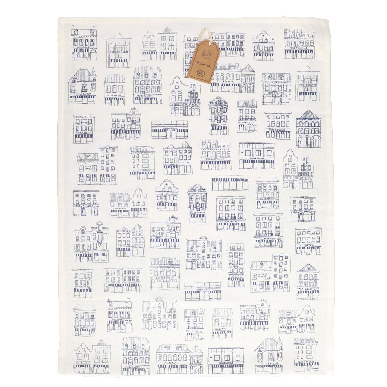 Dille&Kamille Torchon, coton bio, blancà motif de façades bleues, 50 x 70 cm