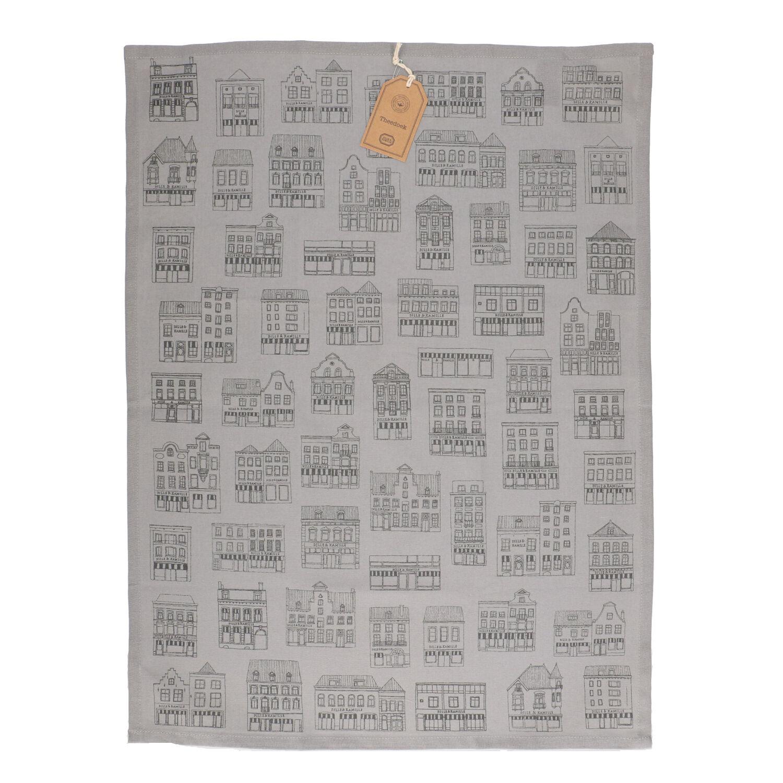 Dille&Kamille Torchon, coton bio, grisà motif de façades noires, 50 x 70 cm