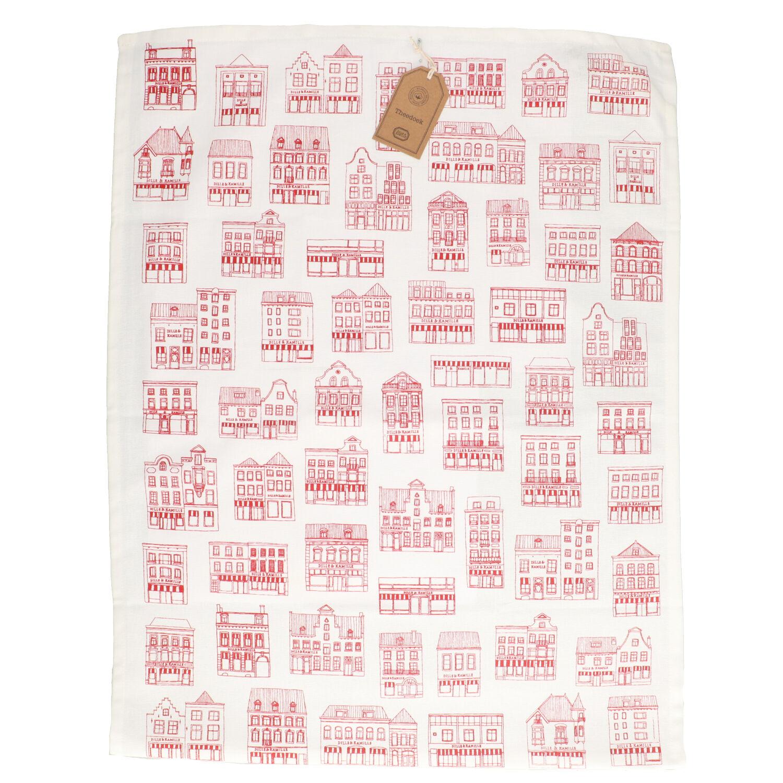 Dille&Kamille Torchon, coton bio, blancà motif de façades rouges, 50 x 70 cm