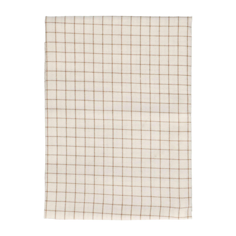 Dille&Kamille Torchon, coton bio, blanc/couleur sable,à carreaux