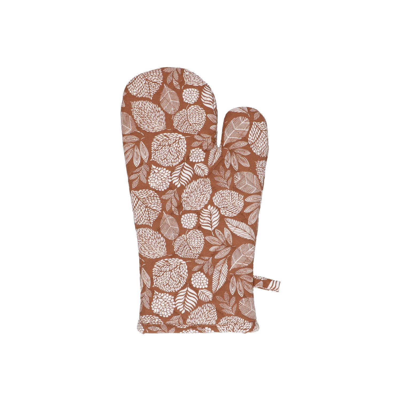 Dille&Kamille Gant de cuisine, coton bio, brunà motif de feuille