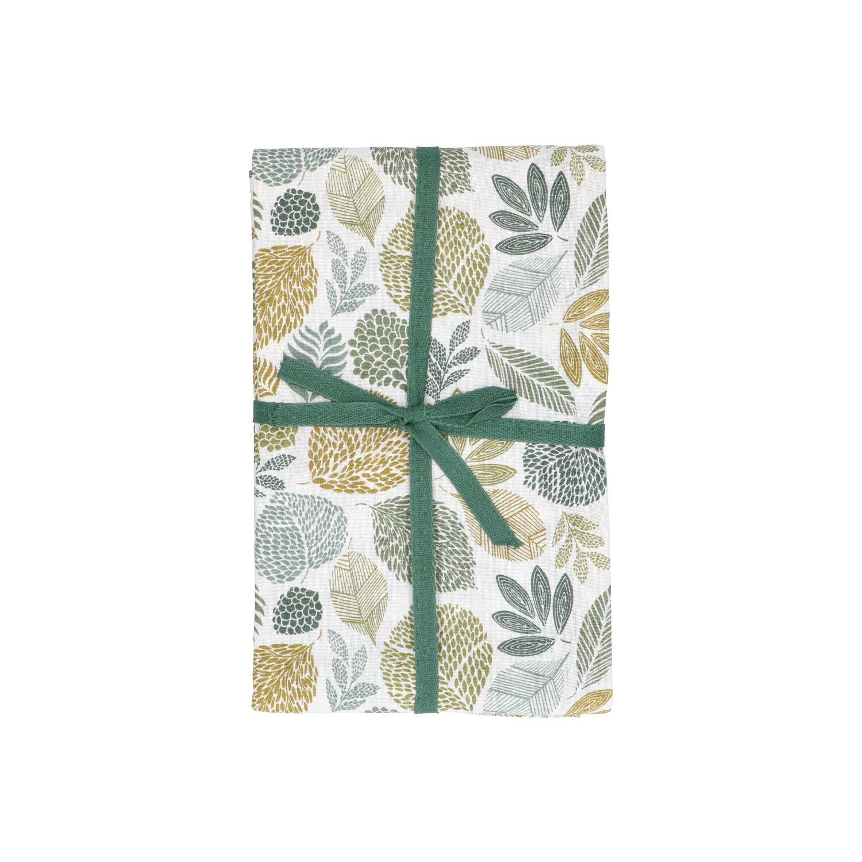 Dille&Kamille Nappe, coton bio, motif des feuilles vertes, 140 x 180 cm