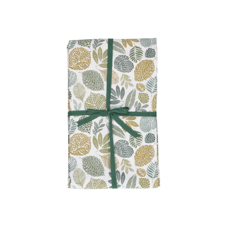 Dille&Kamille Nappe, coton bio, motif des feuilles vertes, 145 x 300 cm
