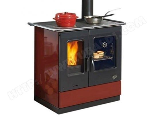 GODIN Cuisinière à bois GODIN - 241100CARMIN Largeur 95 cm - 6,5 KW-Rdt:85%-CO:0,08%-Série Armonnie-Vision de la flamme-Carmin