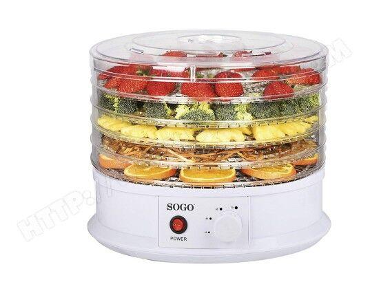 Sogo Déshydrateur d'aliments rotatif pour sécher les et conserver les Nutrientes de fruits, légumes et herbes. Avec contrôle de température et répartition uniforme de la chaleur. 250 W