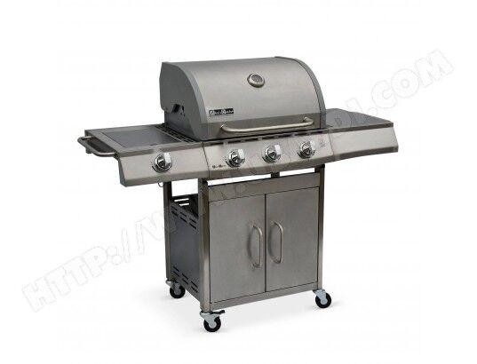 ALICE'S GARDEN Barbecue au gaz Richelieu Inox, 4 brûleurs dont 1 feu latéral 14kW, côté grill et plancha, cuisine extérieure