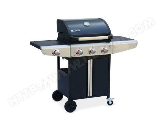 ALICE'S GARDEN Barbecue au gaz Bazin 3 Anthracite Cuisine extérieure 3 brûleurs + 1 feu latéral avec tablettes latérales et thermomètre