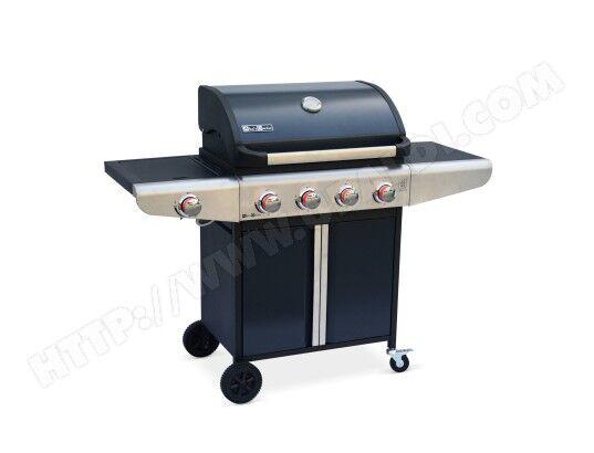 ALICE'S GARDEN Barbecue au gaz Bazin 4 Anthracite Cuisine extérieure 4 brûleurs + 1 feu latéral avec tablettes latérales et thermomètre