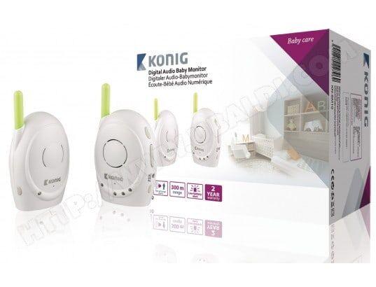 KONIG Moniteur de surveillance pour bébé Audio 2.4 GHz Blanc / Vert