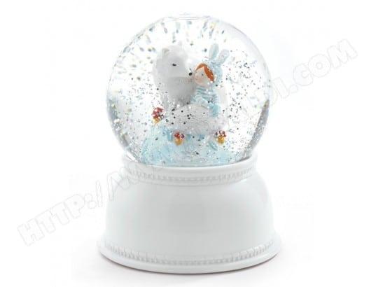 LITTLE BIG ROOM Lampe veilleuse boule neigeuse paillettes loup blanc D11xH14cm CELESTE multicolore multicolore