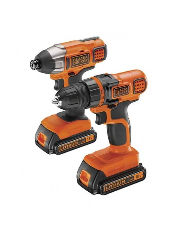 Black & Decker Perceuse-visseuse Visseuse à impacts Black & Decker BDCDDIM18B 18V 2x Batteries