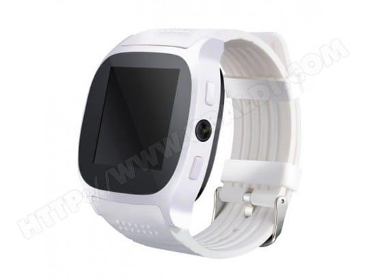 YONIS Montre Connectée Bluetooth Écran IPS 1.54 Pouces Caméra GSM 2G Podomètre Anti-Perte Moniteur Sommeil Radio FM Blanc