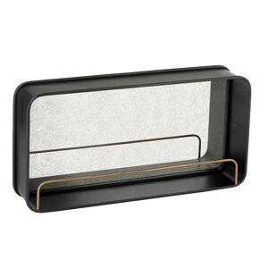 BOIS DESSUS BOIS DESSOUS Miroir en métal noir avec étagère dorée - Publicité