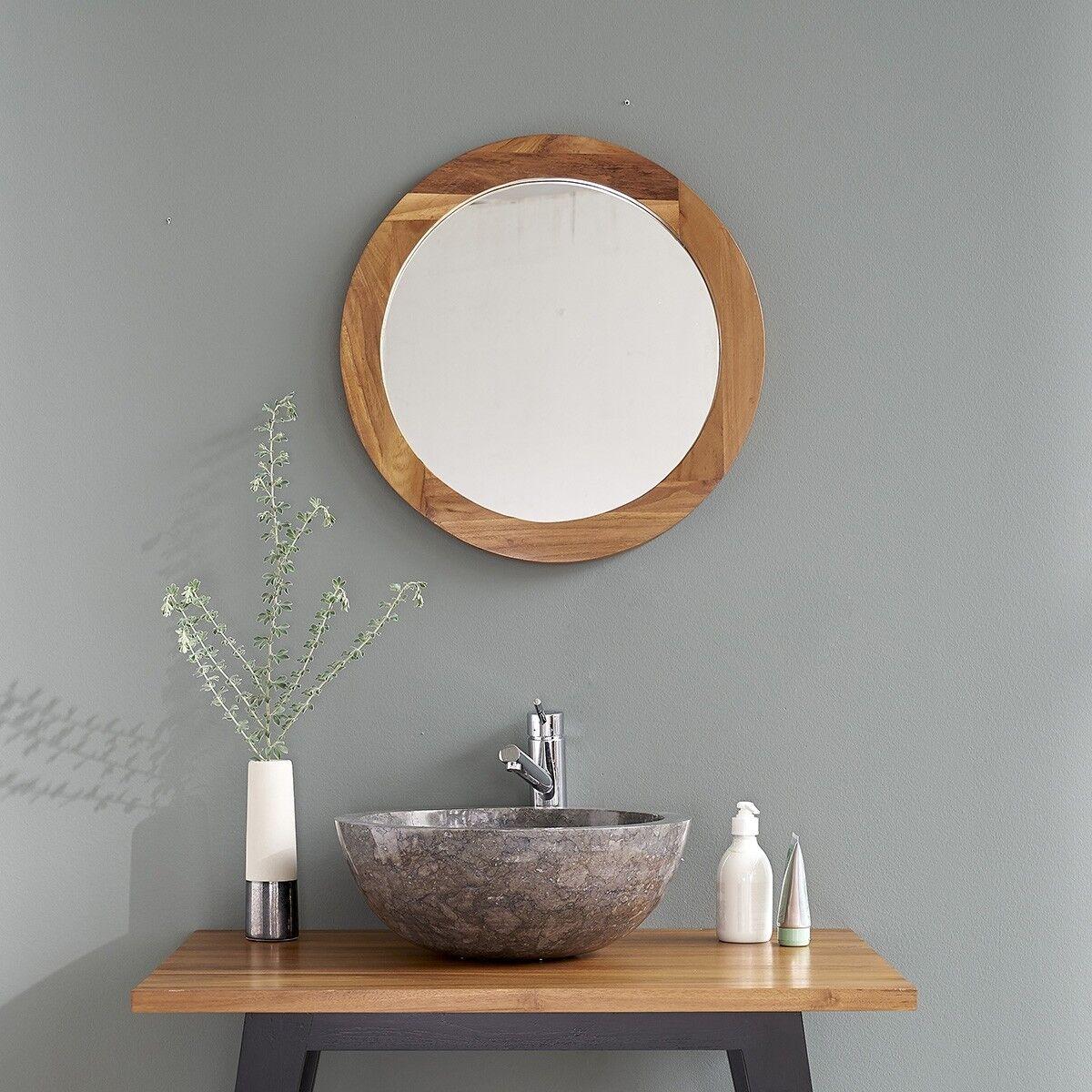 BOIS DESSUS BOIS DESSOUS Miroir rond en bois de teck BOIS DESSUS BOIS DESSOUS