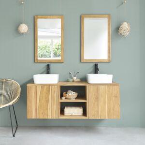 BOIS DESSUS BOIS DESSOUS Meuble de salle de bain en bois de Teck suspendu 135 BOIS DESSUS BOIS DESSOUS - Publicité