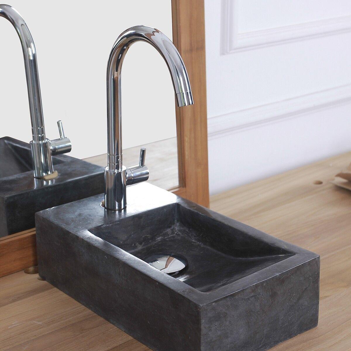 BOIS DESSUS BOIS DESSOUS Mini vasque rectangulaire en pierre de marbre BOIS DESSUS BOIS DESSOUS