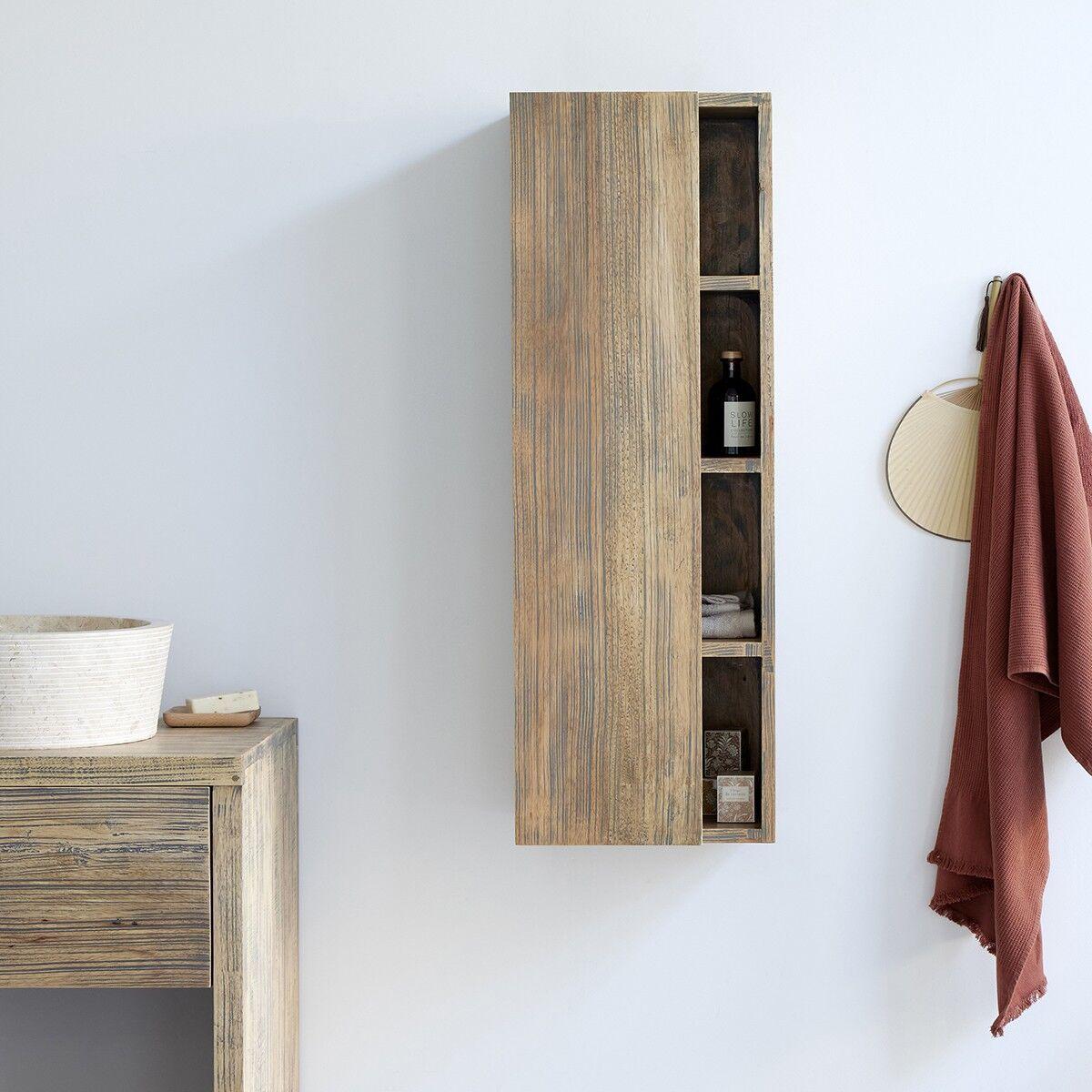 BOIS DESSUS BOIS DESSOUS Colonne de salle de bain suspendue en bois d'hévéa 100 cm BOIS DESSUS BOIS DESSOUS