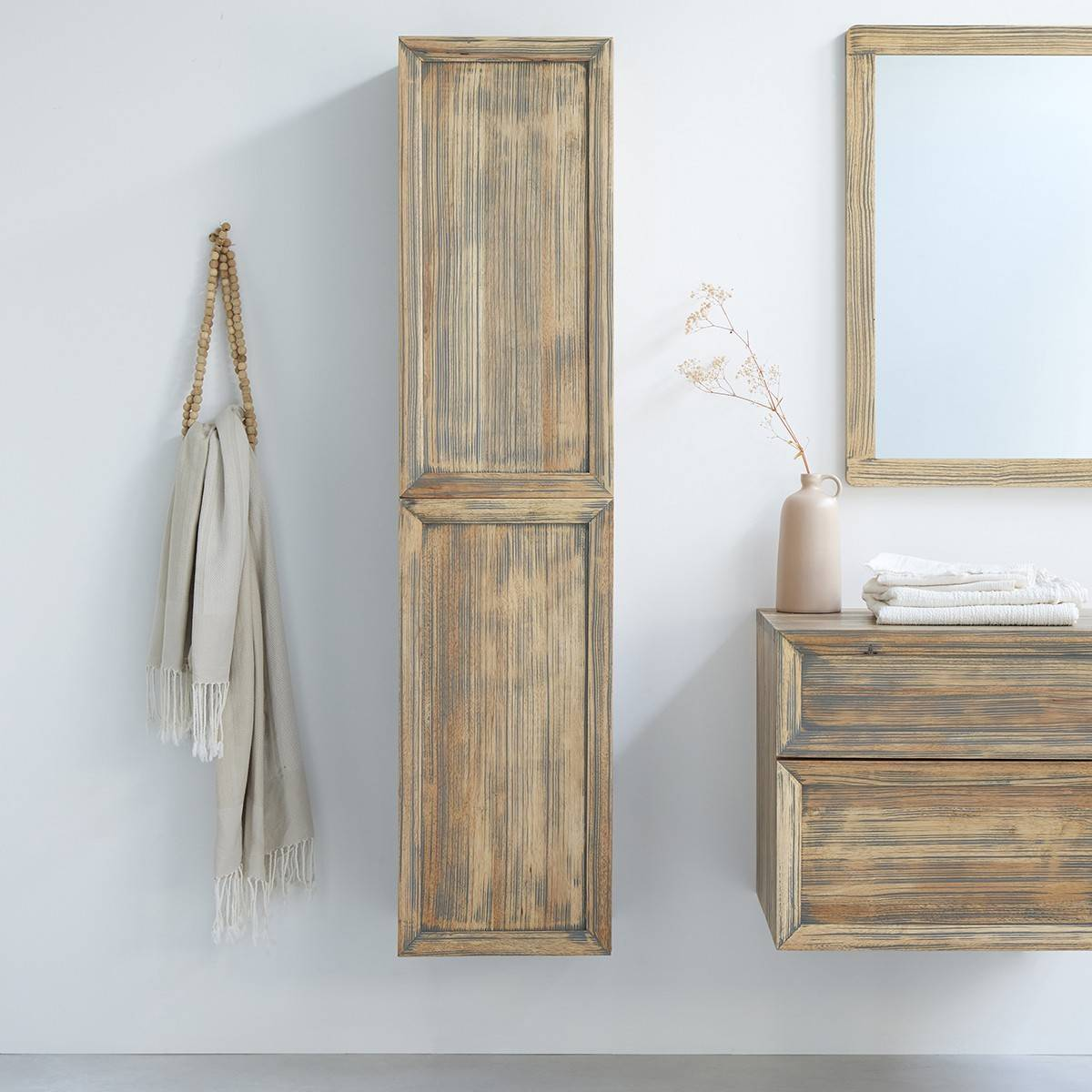 BOIS DESSUS BOIS DESSOUS Colonne de salle de bain en bois d'hévéa suspendue 150 cm
