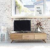 BOIS DESSUS BOIS DESSOUS Meuble TV en bois de mindy 3 tiroirs abattants BOIS DESSUS BOIS DESSOUS