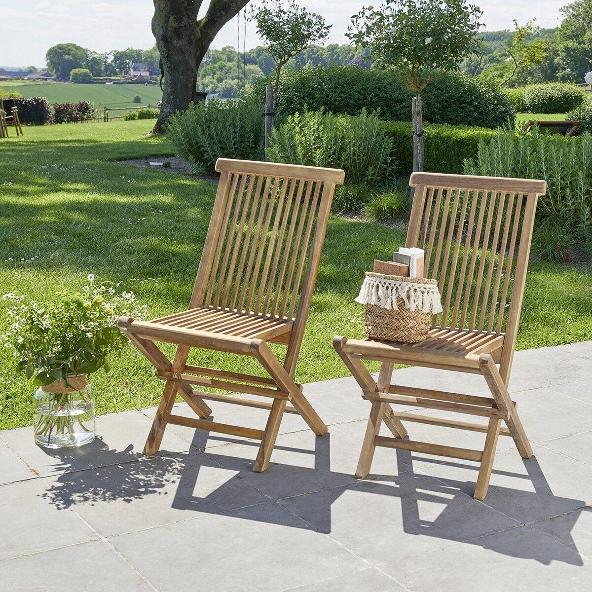 BOIS DESSUS BOIS DESSOUS Chaise de jardin pliante en teck huilé (lot de 2)