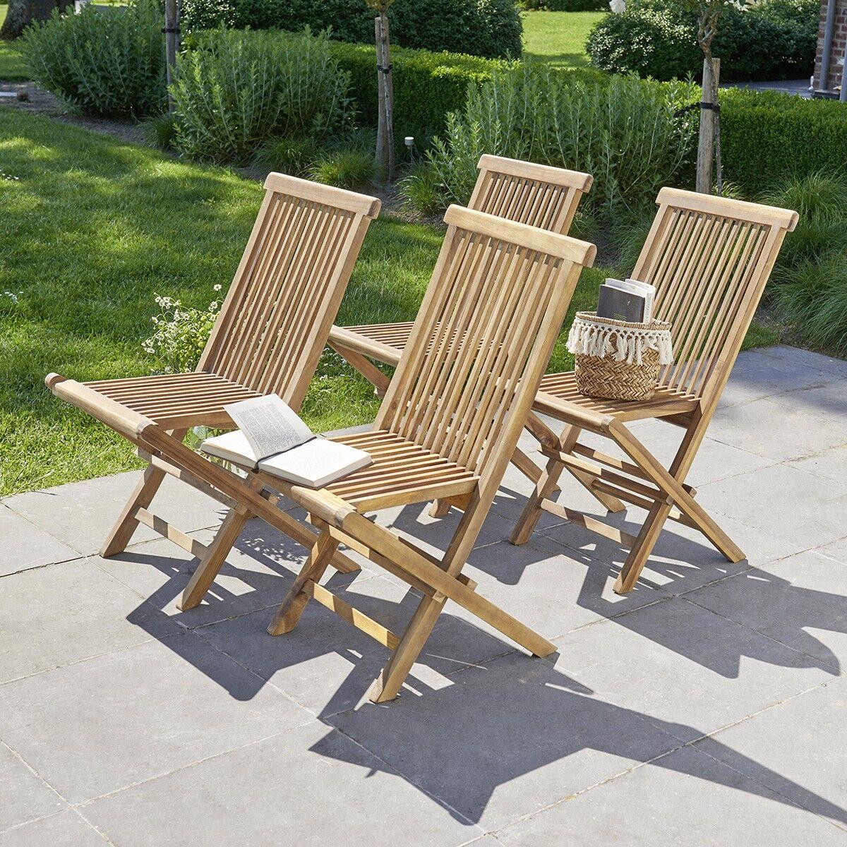 BOIS DESSUS BOIS DESSOUS Chaise de jardin pliantes en teck huilé (lot de 4)