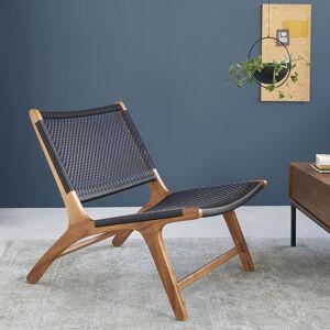 BOIS DESSUS BOIS DESSOUS Fauteuil relax en bois de teck et tissage BOIS DESSUS BOIS DESSOUS - Publicité