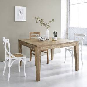 BOIS DESSUS BOIS DESSOUS Table extensible en bois de teck recyclé 8 à 10 couverts BOIS DESSUS BOIS DESSOUS - Publicité
