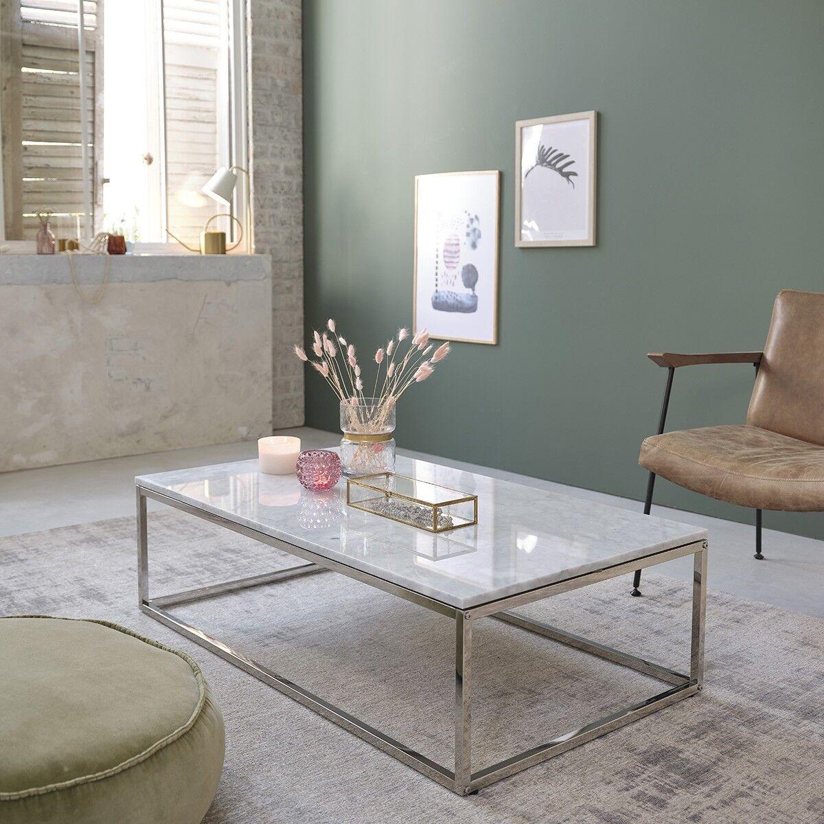 BOIS DESSUS BOIS DESSOUS Table basse rectangulaire en marbre et métal 120 BOIS DESSUS BOIS DESSOUS