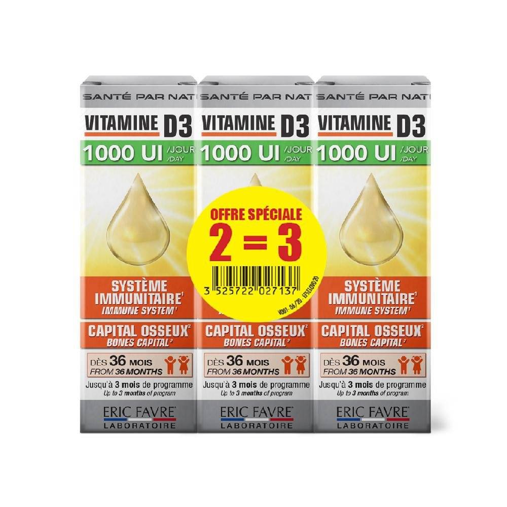 Eric Favre Nutrition Expert Vitamine D3 - Lot de 3