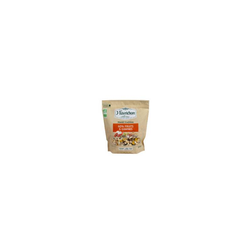 Muesli tradition 60% fruits et graines - 500g bio - Favrichon
