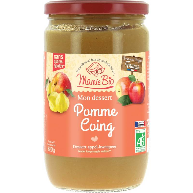 Compote pomme coing - 680g bio - Mamie Bio