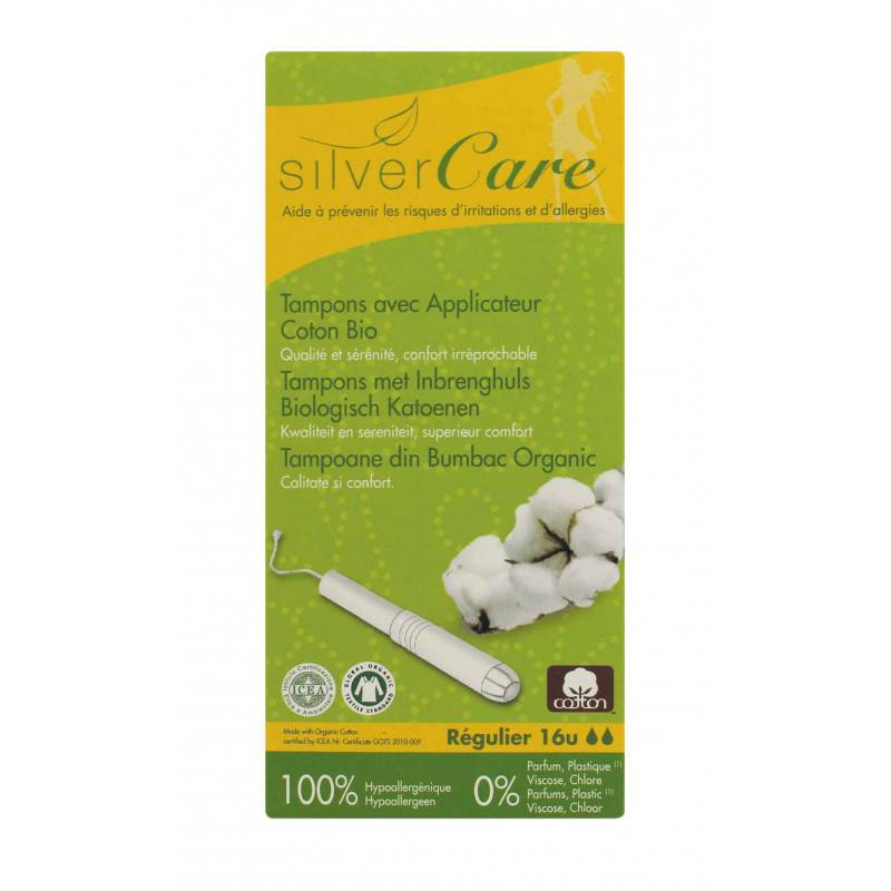 Tampon en coton normal - Avec applicateur - x16 bio - Silver Care