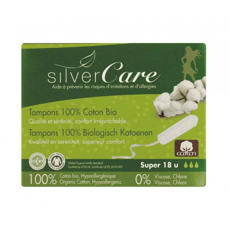 Tampon en coton super - Sans applicateur - x18 bio - Silver Care