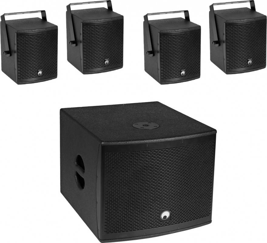 OMNITRONIC Set MOLLY-12A Subwoofer active + 4x MOLLY-6 Top 8 Ohm, black - Systèmes actifs