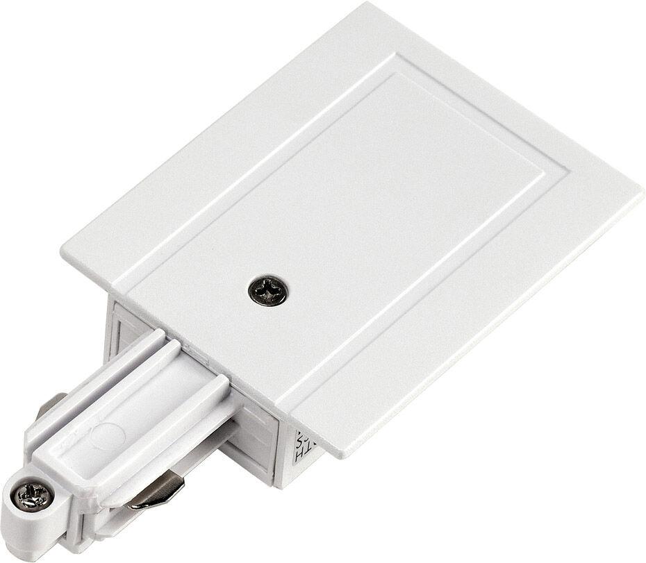 SLV ALIMENTATION pour rail encastrable monophasé 230V blanc, terre à gauch - Accessoires pour barres conductrices monophasées