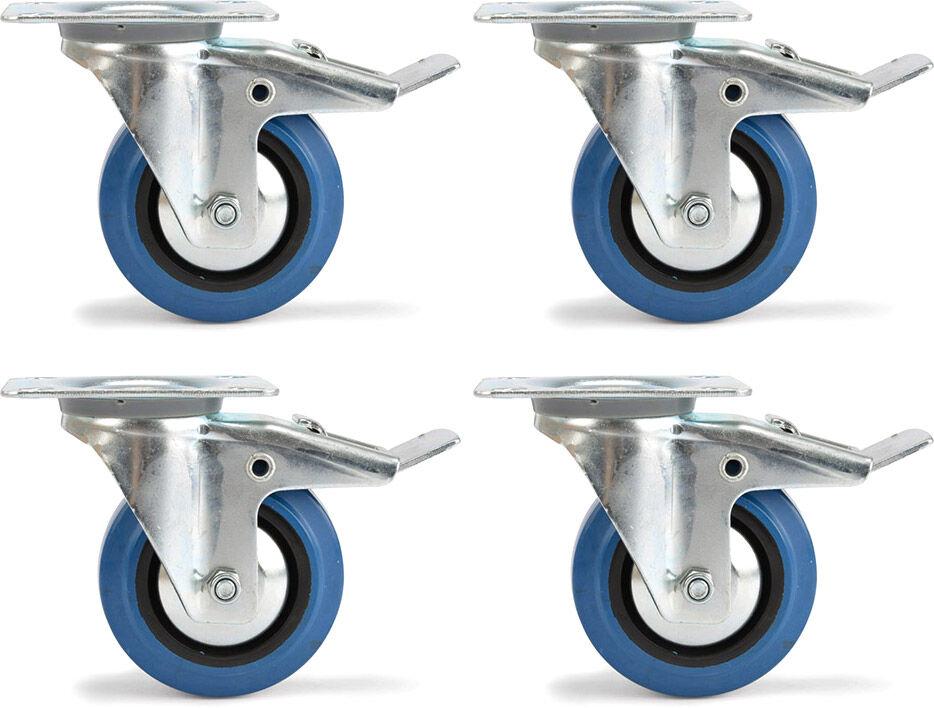Riggatec rouleau de direction réglé Riggatec 100mm roue bleu 4x avec frein - Roulettes
