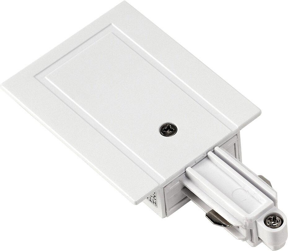 SLV ALIMENTATION pour rail encastrable monophasé 230V blanc, terre à droit - Accessoires pour barres conductrices monophasées