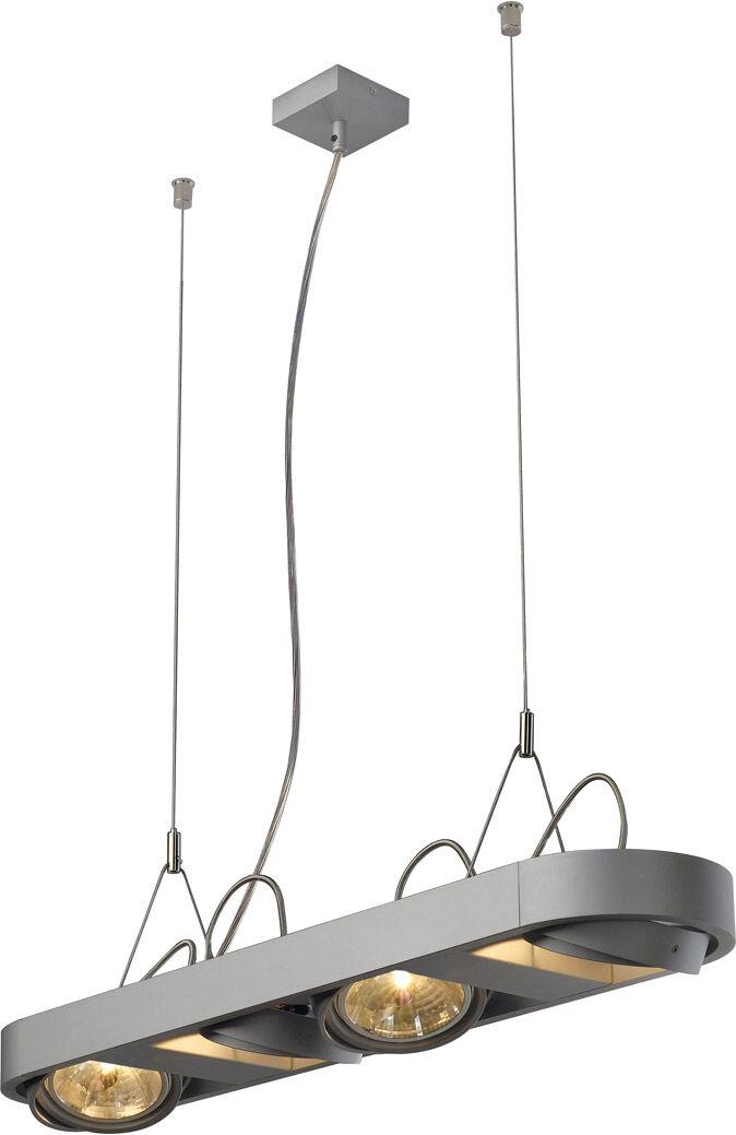 SLV Suspension AIXLIGHT R LONG à quatre lampes, QR111, rectangulaire, gris - Lampes pendulaires