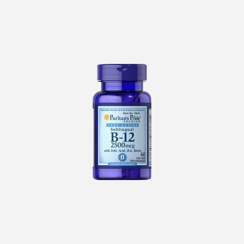 Puritan's Pride Vitamin B-12 2500 mcg Sublingual with Folic Acid, Vitamin B-6 and Biotin 2500 mcg